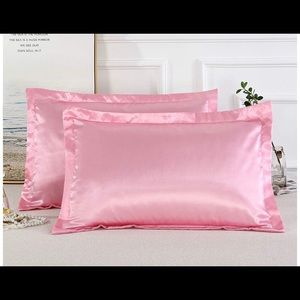 Other - 2 Silk/ satin pink Queen standard pillowcases New